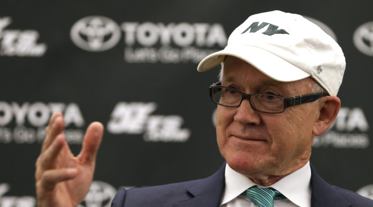 New York Jets owner Woody Johnson speaks during a press conference about D'Brickashaw Ferguson retiring on Thursday, April 14, 2016 at the team's practice facility in Florham Park, N.J. (AP Photo/Adam Hunger)