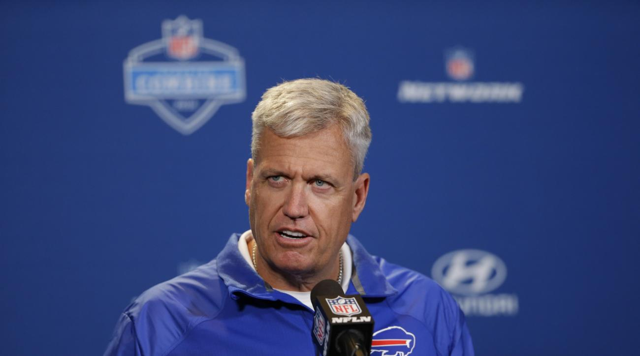 Buffalo Bills head coach Rex Ryan speaks during a press conference at the NFL football scouting combine in Indianapolis, Wednesday, Feb. 24, 2016. (AP Photo/Michael Conroy)
