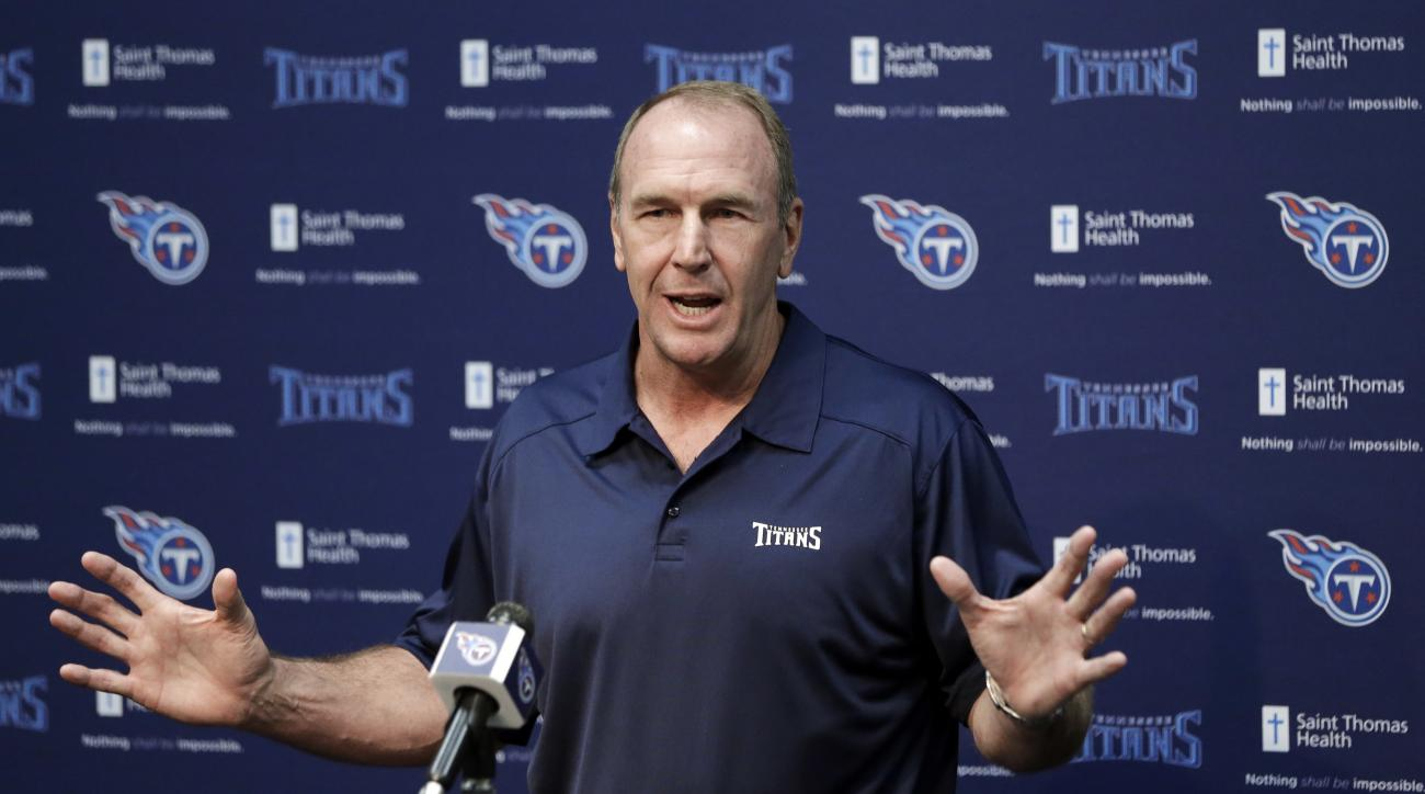 Tennessee Titans head coach Mike Mularkey answers questions during a news conference Monday, April 18, 2016, in Nashville, Tenn. The Titans started their offseason program Monday with much more optimism despite a 3-13 season thanks to a new general manage