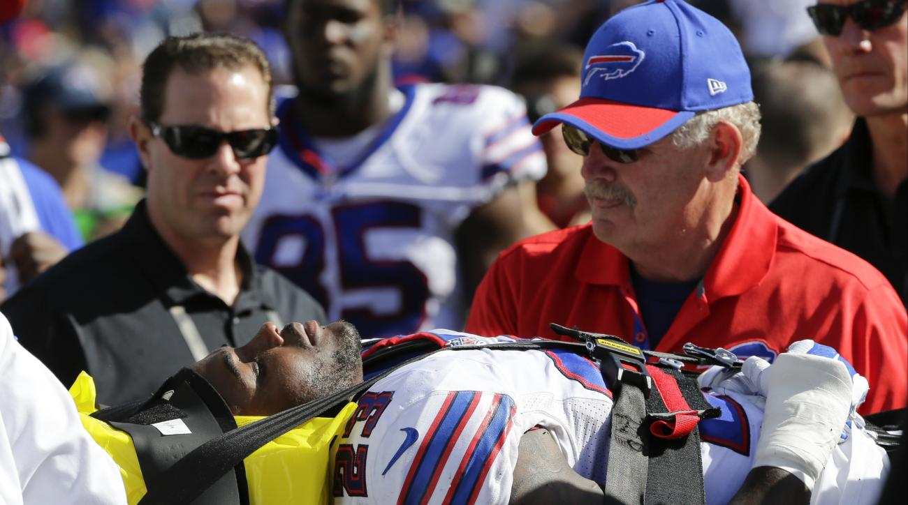 FILE - In this Sept. 20, 2015, file photo, Buffalo Bills' Aaron Williams (23) is carted off the field after an injury in the second half of an NFL football game against the New England Patriots in Orchard Park, N.Y. Williams figures he has another four mo