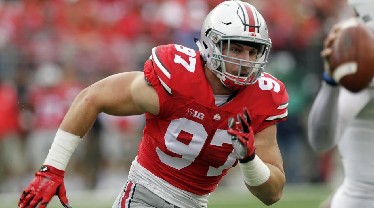 FILE - In this Sept. 19, 2015, file photo, Ohio State defensive lineman Joey Bosa plays plays against Northern Illinois during an NCAA college football game in Columbus, Ohio. Bosa is one of the top defensive players available in the NFL Draft, which star