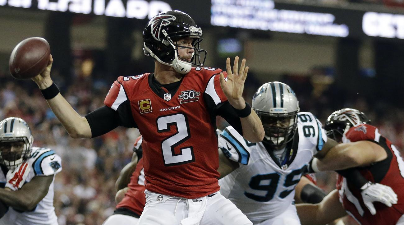 FILE - In this Dec. 27, 2015, file photo, Atlanta Falcons quarterback Matt Ryan throws a pass during the first half of an NFL football game  against the Carolina Panthers in Atlanta. Ryan didnt wait for this weeks start of the Falcons offseason program to