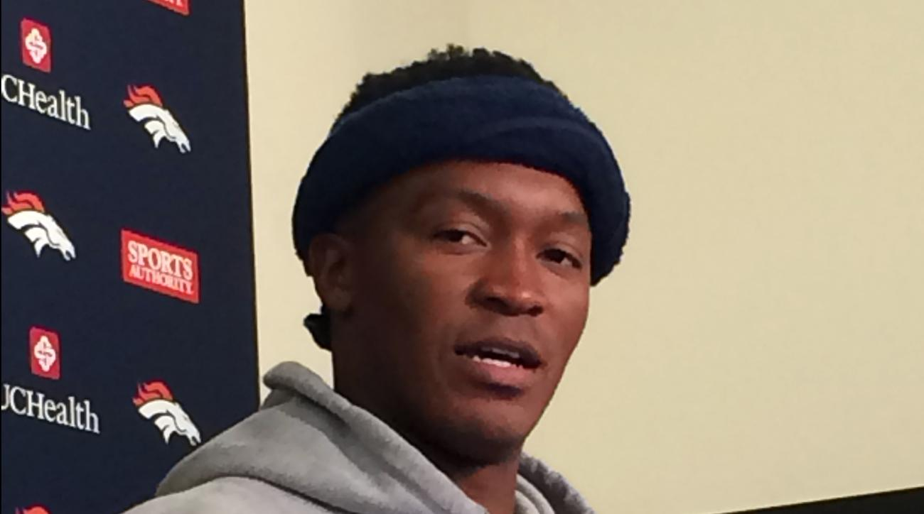 Denver Broncos' Demaryius Thomas speaks with reporters at the NFL football team's training facility Wednesday, April 20, 2016, in Englewood, Colo. Thomas is lighter on his feet this spring and not just because he's dropped a few pounds. Unlike a year ago,