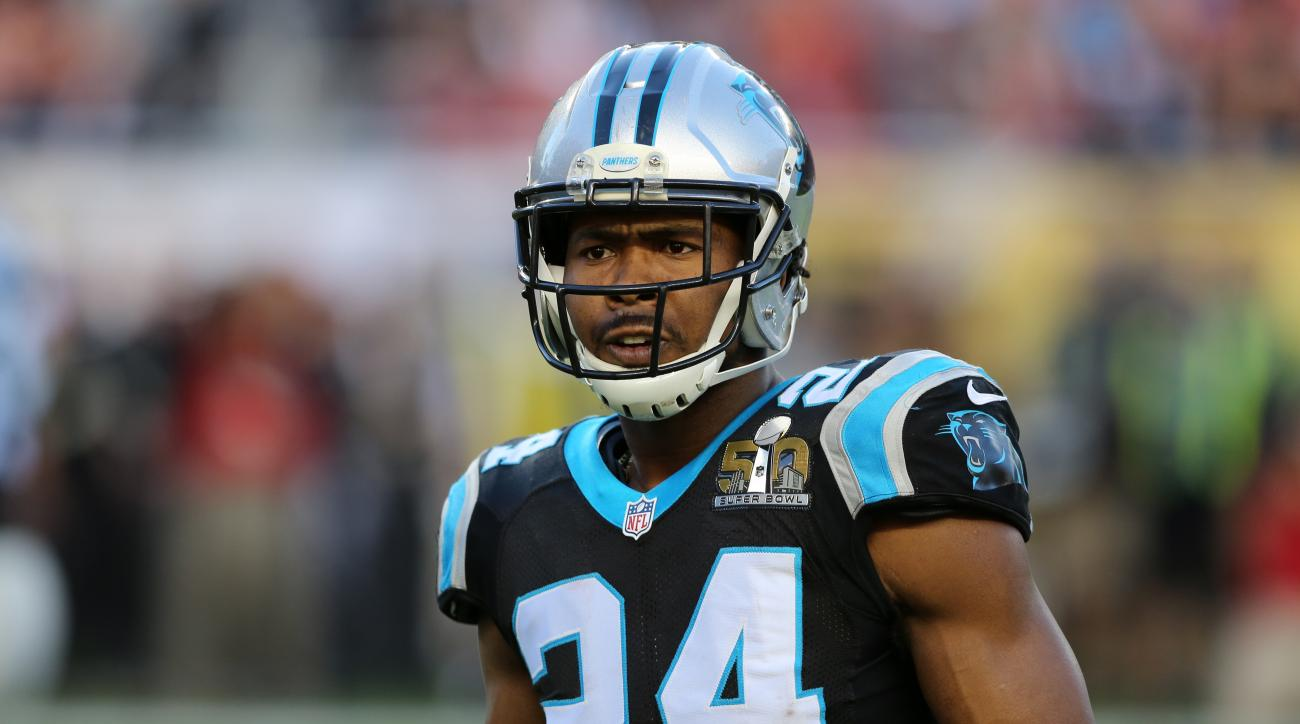 Carolina Panthers Josh Norman #24 is seen against the Denver Broncos during the NFL Super Bowl 50 football game Sunday, Feb. 7, 2016, in Santa Clara, Calif.  (AP Photo/Gregory Payan)