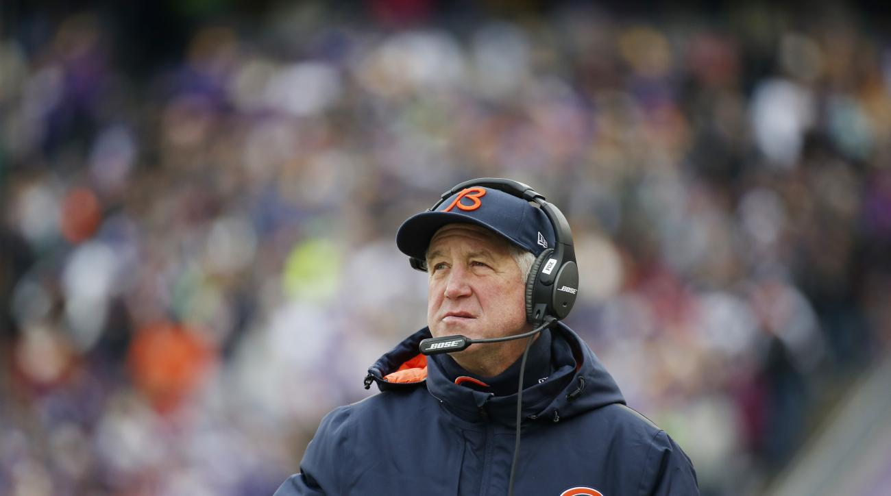 FILE - In this Dec. 20, 2015, file photo, Chicago Bears coach John Fox watches from the sideline during the team's NFL football game against the Minnesota Vikings in Minneapolis. The Bears have the 11th pick in the first round in next week's NFL draft in