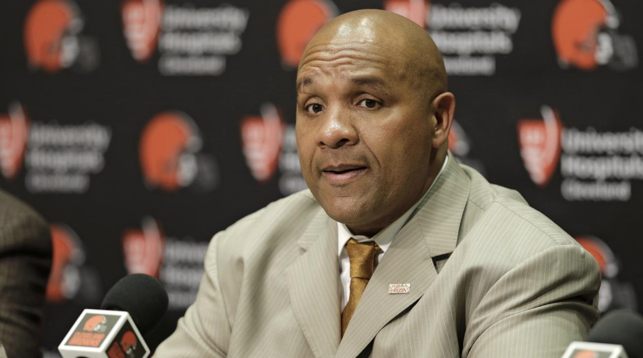 FILE - In this Jan. 13, 2016, file photo, Cleveland Browns coach Hue Jackson answers questions during a news conference in Berea, Ohio. The Browns  have the 8th pick in the first round in next week's NFL draft in Chicago.  (AP Photo/Tony Dejak, File)