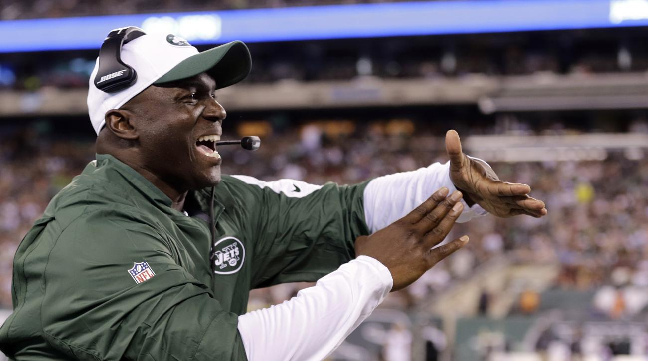 FILE - In this Aug. 21, 2015, file photo, New York Jets coach Todd Bowles calls for a timeout during an NFL football game against the Atlanta Falcons in East Rutherford, N.J. The Jets  have the 20th pick in the first round in next week's NFL draft in Chic