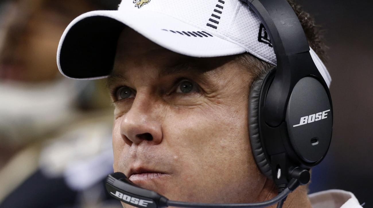 FILE - In this Dec. 27, 2015, file photo, New Orleans Saints head coach Sean Payton watches from the sideline in the first half of an NFL football game against the Jacksonville Jaguars in New Orleans. The Saints  have the 12th pick in the first round in n