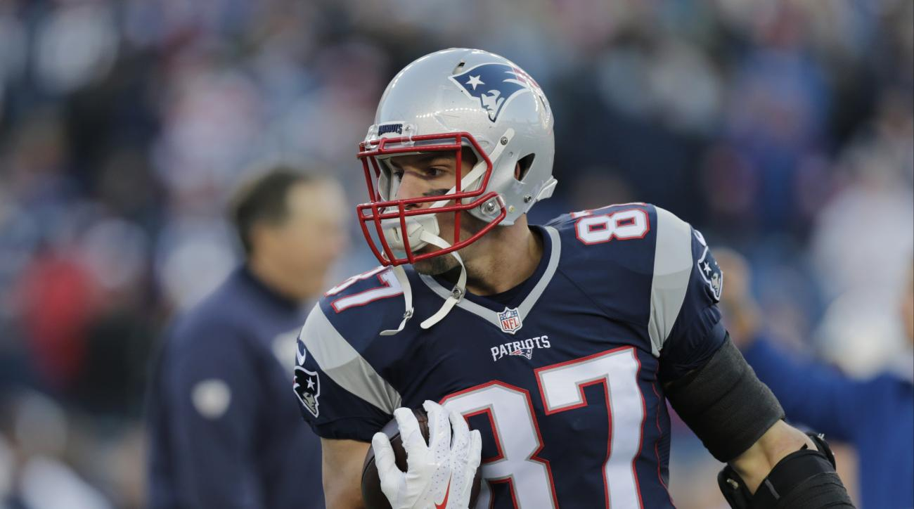 FILE - In this Jan. 16, 2016, file photo, New England Patriots tight end Rob Gronkowski warms up before an NFL divisional playoff football game against the Kansas City Chiefs in Foxborough, Mass. A digital short series for Oberto that launches Thursday, A