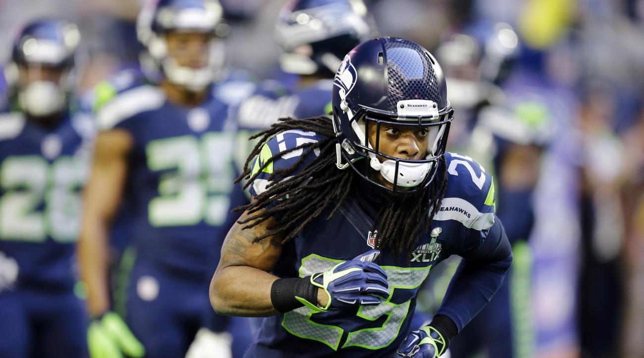FILE - In this Feb. 1, 2015, file photo, Seattle Seahawks cornerback Richard Sherman (25) warms up before the NFL Super Bowl XLIX football game against the New England Patriots in Glendale, Ariz. A digital short series for Oberto that launches Thursday, A