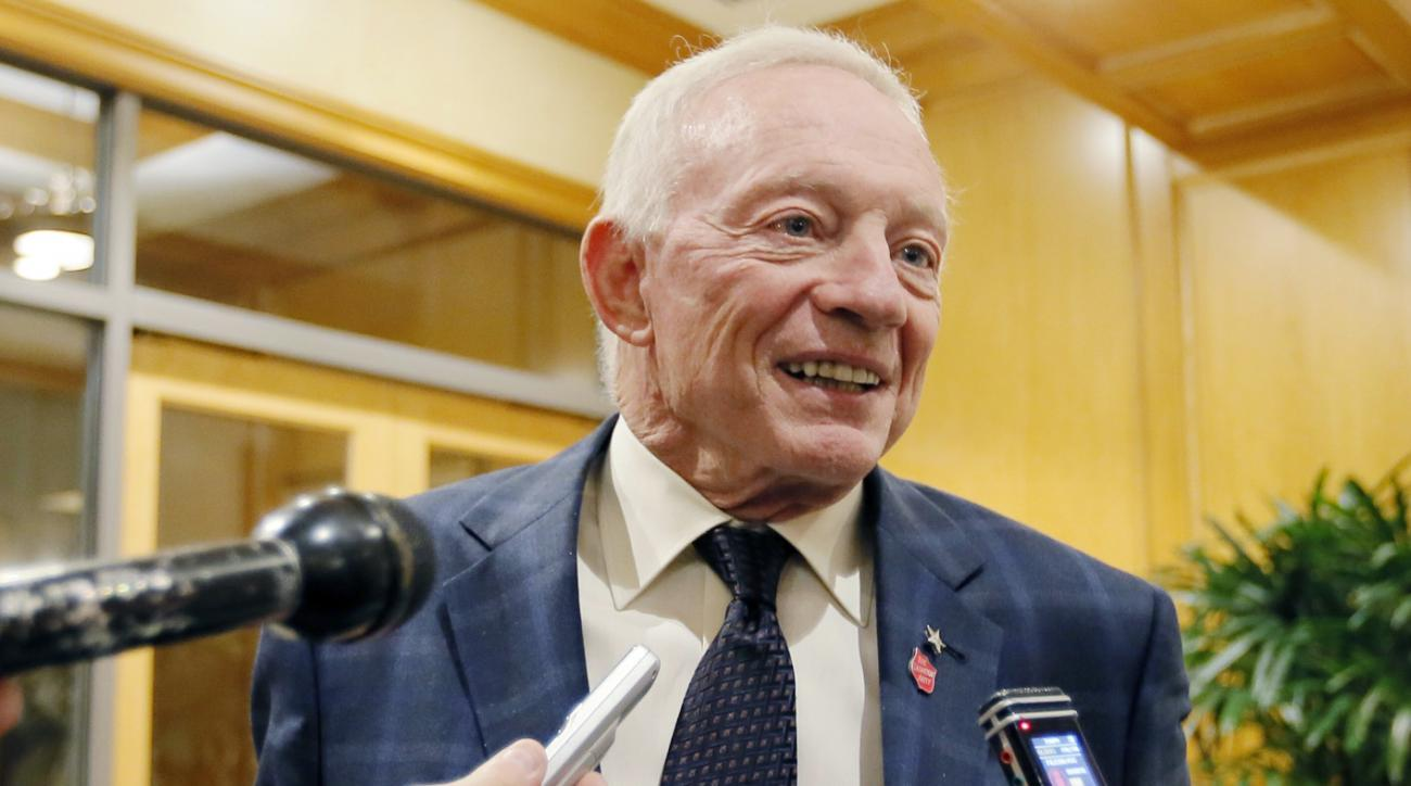 FILE - In this Dec. 2, 2015 file photo, Dallas Cowboys owner Jerry Jones speaks to the media in Irving, Texas. Jerry Jones hinted moments after a surprising 4-12 season ended that the Cowboys might trade down rather than use the No. 4 pick in the draft.