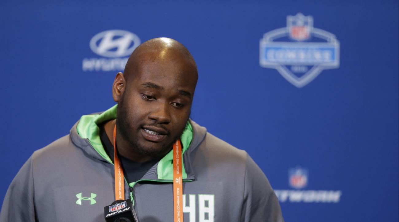 FILE - In this Feb. 24, 2016 file photo, Mississippi offensive lineman Laremy Tunsil speaks during a press conference at the NFL football scouting combine in Indianapolis. Former Mississippi left tackle Laremy Tunsil had a good chance to be the NFL draft'