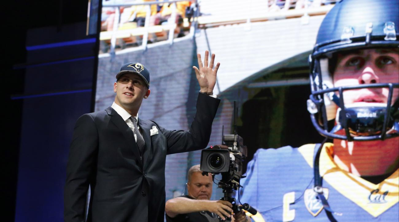 Californias Jared Goff waves as after being selected by the Los Angeles Rams as 1st pick in the first round of the 2016 NFL football draft, Thursday, April 28, 2016, in Chicago. (AP Photo/Charles Rex Arbogast)