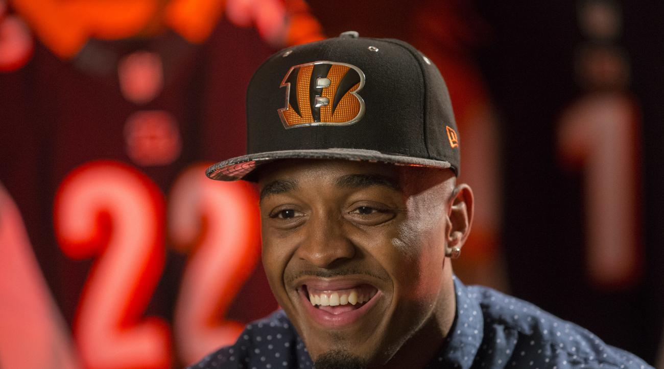 Cincinnati Bengals first-round draft pick William Jackson III smiles during an interview following a news conference at Paul Brown Stadium, Friday, April 29, 2016, in Cincinnati. After being shut out of the top receivers, the Bengals took cornerback Jacks