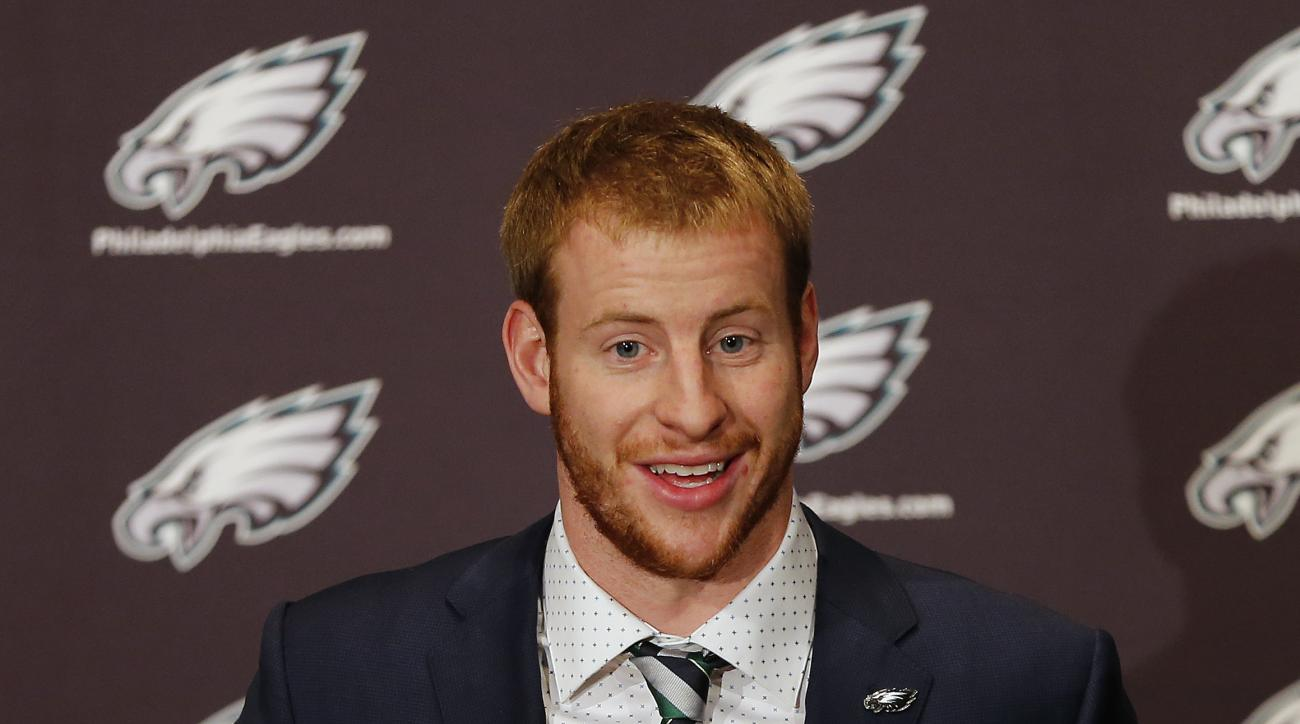 Carson Wentz, first-round draft pick of the Philadelphia Eagles, answers a question during a news conference at the team's practice facility, Friday, April 29, 2016, in Philadelphia, Pa. (AP Photo/Rich Schultz)