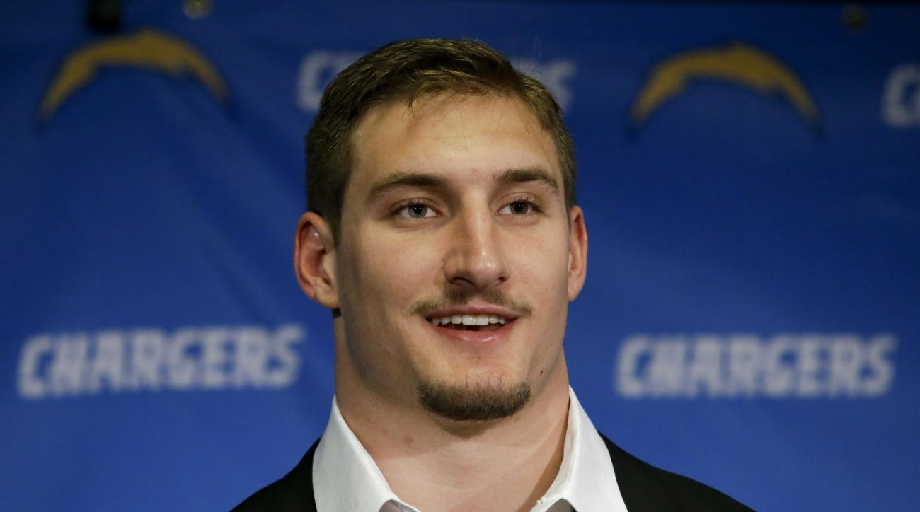San Diego Chargers top NFL draft pick Joey Bosa speaks during a news conference, Friday, April 29, 2016, in San Diego. (AP Photo/Chris Carlson)