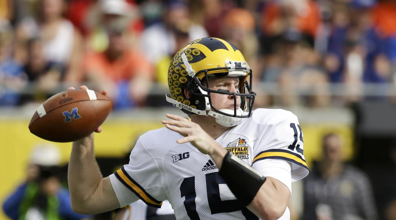 FILE - In this Jan. 1, 2016 file photo, Michigan quarterback Jake Rudock (15) throws a pass against Florida during the first half of the Citrus Bowl NCAA college football game in Orlando, Fla. After his first game at Michigan last season, it was hard to t