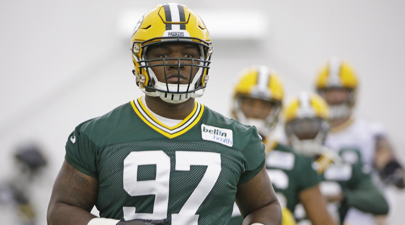 Green Bay Packers first round draft pick Kenny Clark (97) runs a drill during NFL football rookie camp in the Hutson Center Friday, May 6,  2016 in Green Bay, Wis. (Jim Matthews/The Green Bay Press-Gazette via AP) NO SALES; MANDATORY CREDIT