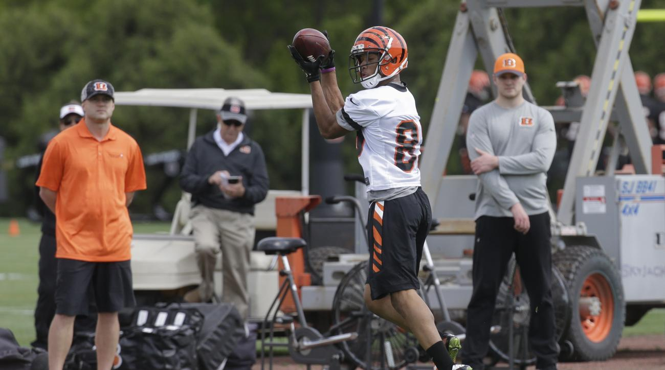 Cincinnati Bengals wide receiver Tyler Boyd (83) catches a pass during an NFL football photo opportunity practice, Friday, May 6, 2016, in Cincinnati. (AP Photo/John Minchillo)