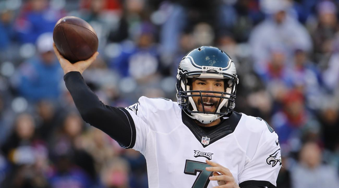 FILE - In this Sunday, Jan. 3, 2016 file photo, Philadelphia Eagles quarterback Sam Bradford (7) passes the ball against the New York Giants during an NFL football game in East Rutherford, N.J. Sam Bradford has agreed to a two-year contract with the Phila