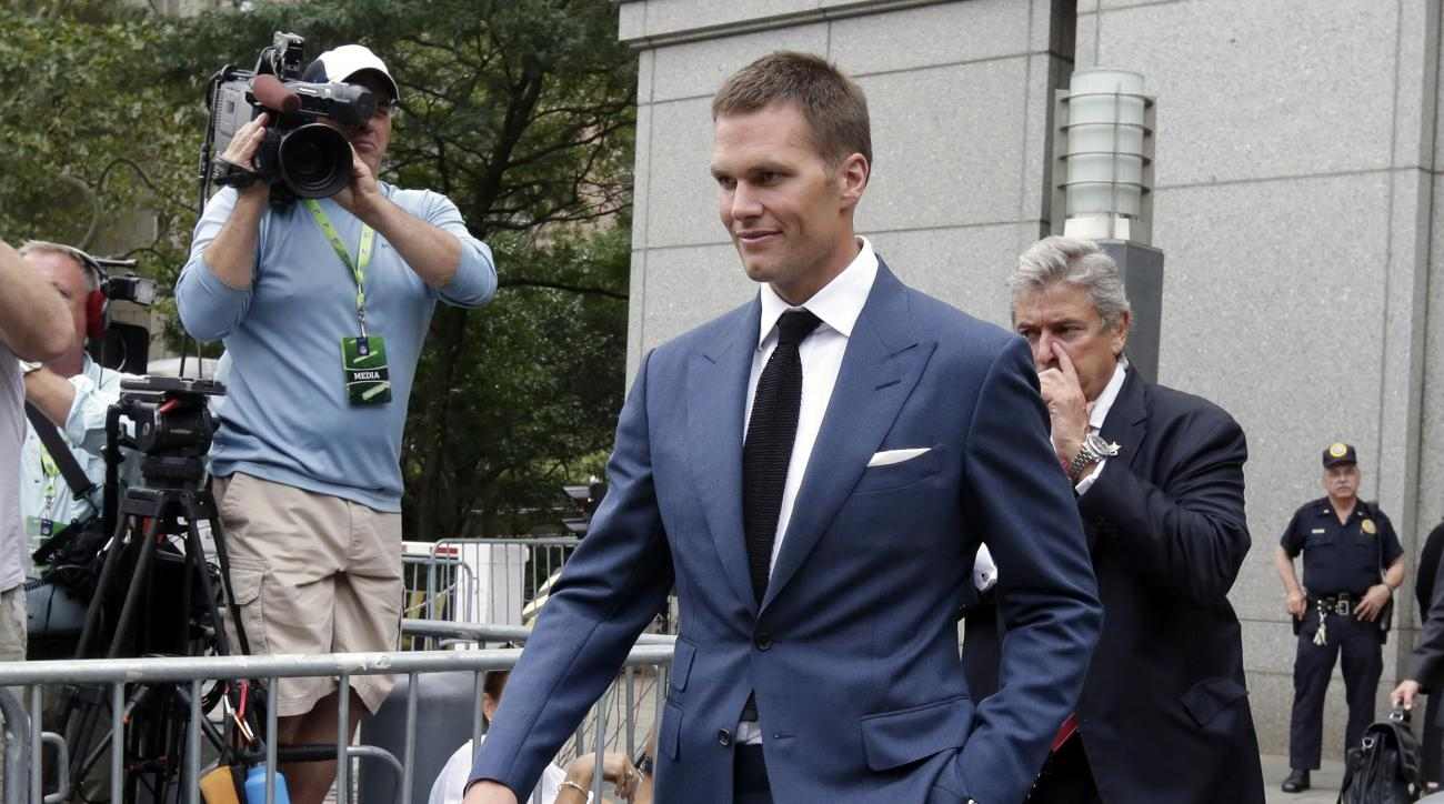 FILE - In this Monday, Aug. 31, 2015, file photo, New England Patriots quarterback Tom Brady leaves federal court, in New York. Brady will appeal his four-game suspension imposed by the NFL. NFL Players Association attorney Theodore B. Olson told ABC News