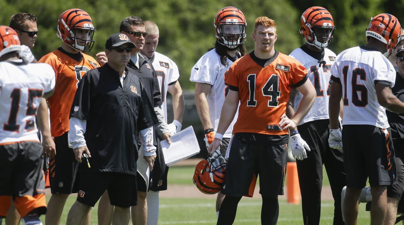 Cincinnati Bengals quarterback Andy Dalton (14) stands alongside offensive coordinator Ken Zampese, center left, during NFL football practice, Tuesday, May 24, 2016, in Cincinnati. With his broken right thumb healed, Dalton is back running the Bengals' of