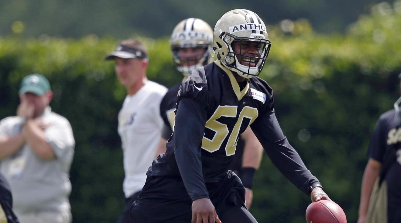 New Orleans Saints linebacker Stephone Anthony (50) goes through drills during NFL football practice in Metairie, La., Thursday, May 26, 2016. Anthony, a 2015 first-round pick who quickly took over as starting middle linebacker, is preparing for a positio