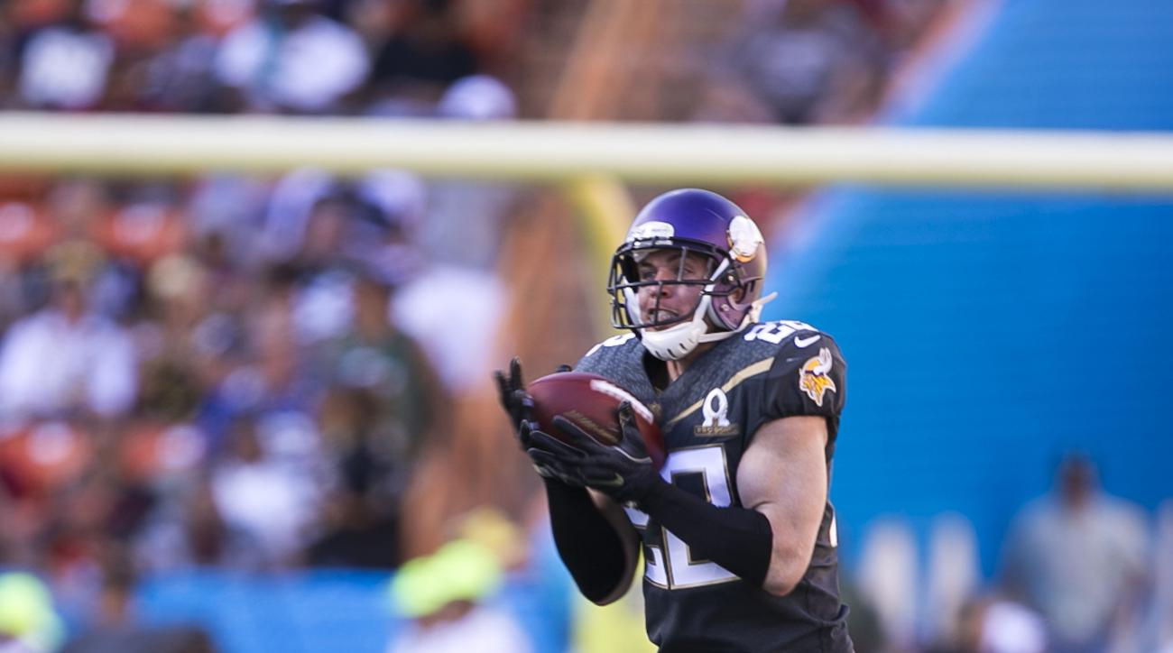 Minnesota Vikings safety Harrison Smith (22), of Team Irvin, makes an interception during the third quarter of the NFL Pro Bowl football game, Sunday, Jan. 31, 2016, in Honolulu. (AP Photo/Marco Garcia)