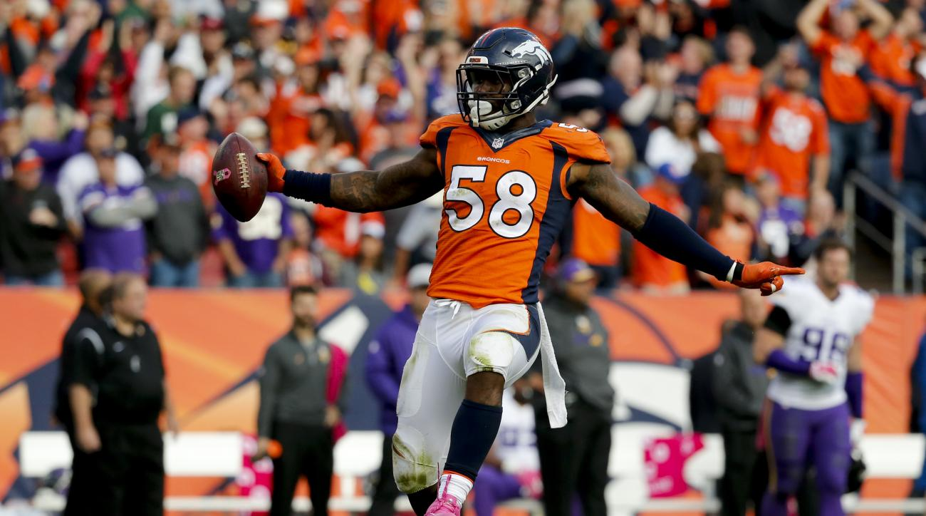 FILE - In this Oct. 4, 2015, file photo, Denver Broncos outside linebacker Von Miller celebrates after sacking Minnesota Vikings quarterback Teddy Bridgewater during an NFL football game in Denver. A person familiar with the matter tells The Associated Pr