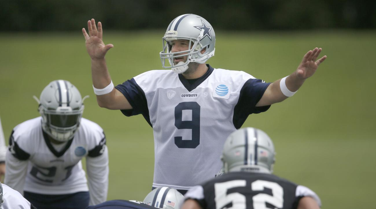 Dallas Cowboys quarterback Tony Romo (9) calls a play during the NFL football team's minicamp at Valley Ranch in Irving, Texas, Tuesday, June 14, 2016. (AP Photo/LM Otero)