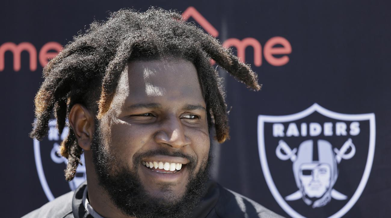 Oakland Raiders defensive end Mario Edwards answers questions following workouts at the team's football minicamp Tuesday, June 14, 2016, in Alameda, Calif. (AP Photo/Eric Risberg)