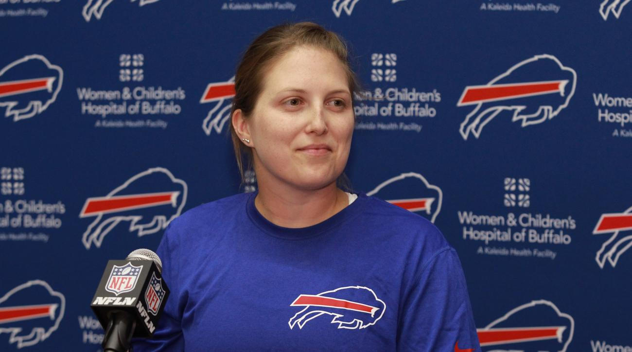 Buffalo Bills special teams quality control coach Kathryn Smith speaks to the media during the team's NFL football minicamp in Orchard Park, N.Y., Wednesday, June 15, 2016. (AP Photo/Bill Wippert)