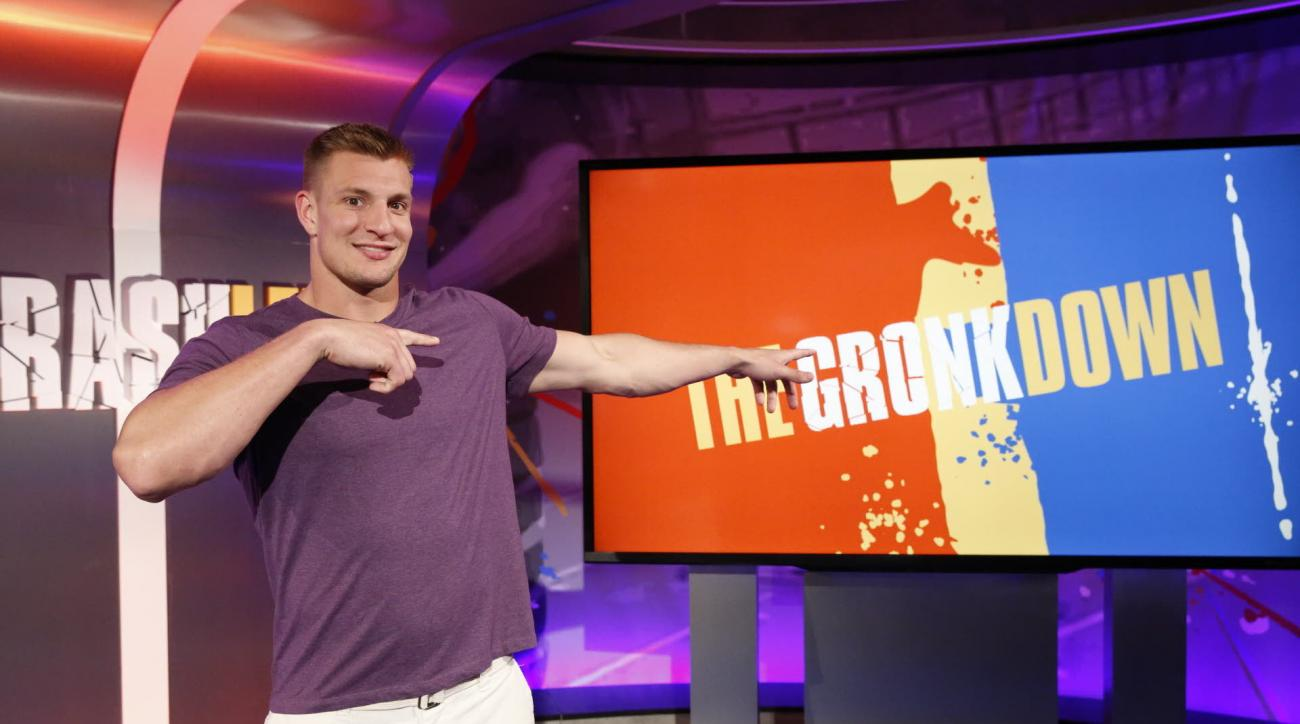 "In this March, 2016 photo provided by Nickelodeon, Rob Gronkowski hosts ""Crashletes,"" in Los Angeles, debuting July 5, 2016 on Nickelodeon. The New England Patriots tight end will be the face of the show introducing popular viral videos of sports bloopers"