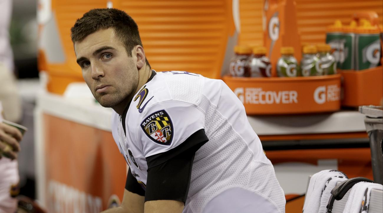 FILE - In this Feb. 3, 2013, file photo, Baltimore Ravens quarterback Joe Flacco sits on the bench before their NFL Super Bowl XLVII football game against the San Francisco 49ers, in New Orleans. Flacco played an unaccustomed and unwanted role at the Rave
