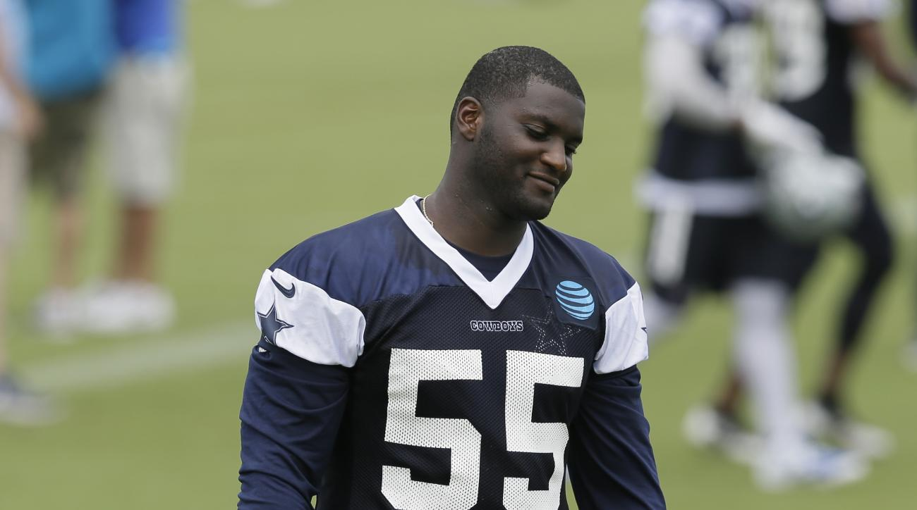 Dallas Cowboys linebacker Rolando McClain (55) walks the field tduring the NFL football team's minicamp at Valley Ranch in Irving, Texas, Tuesday, June 14, 2016. (AP Photo/LM Otero)