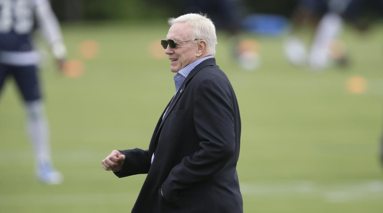 Dallas Cowboys owner Jerry Jones walks the field during the NFL football team's minicamp at Valley Ranch in Irving, Texas, Tuesday, June 14, 2016. (AP Photo/LM Otero)