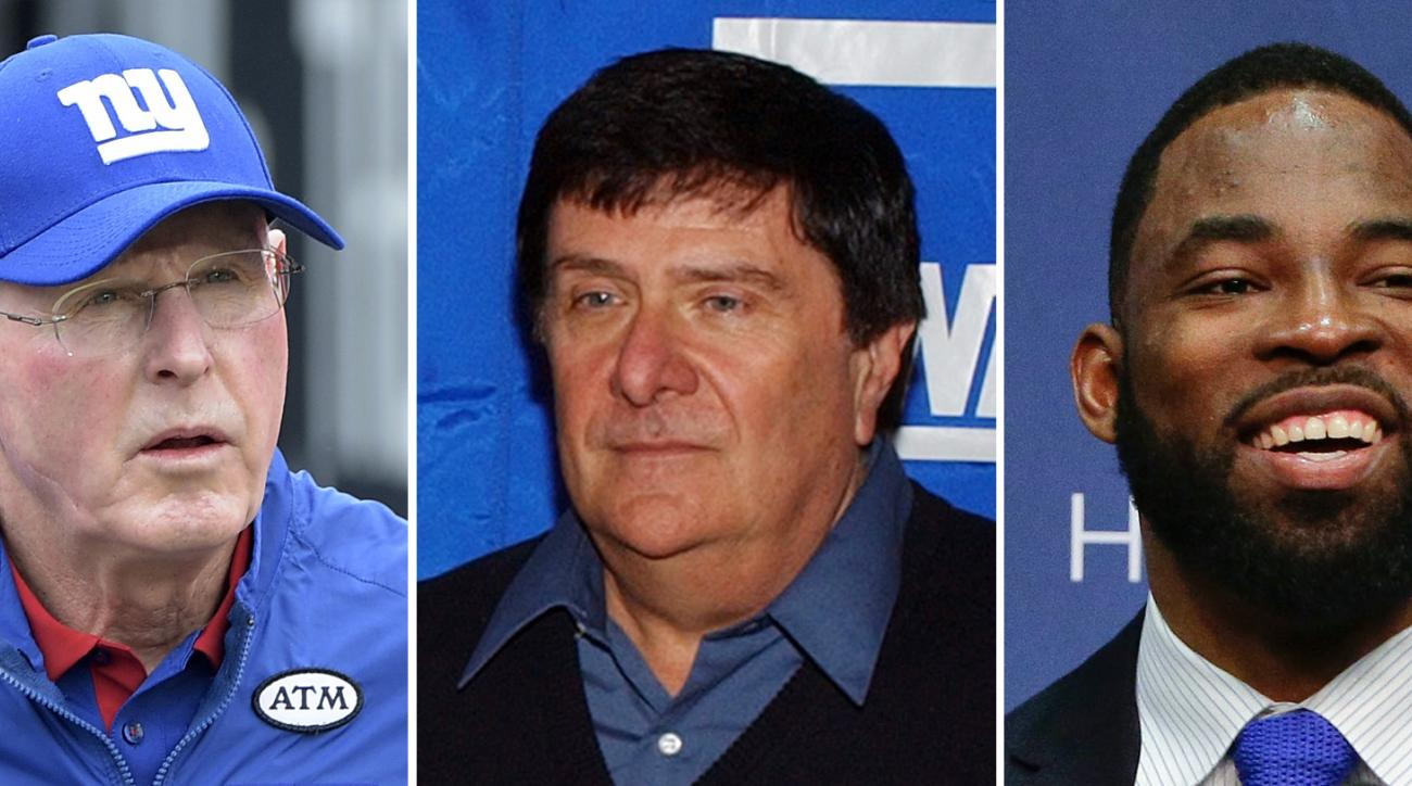 FILE - From left are file photos showing Tom Coughlin in 2015, Ernie Accorsi in 2004 and Justin Tuck in 2016. Coach Tom Coughlin, former general manager Ernie Accorsi and recently retired defensive end Justin Tuck are being inducted into the New York Gian