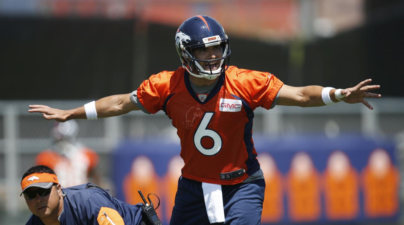 FILE - In this June 7, 2016, file photo, Denver Broncos quarterback Mark Sanchez calls a play before taking the snap during an NFL football practice at the team's headquarters in Englewood, Colo. One of the last things an NFL team needs when it enters tra