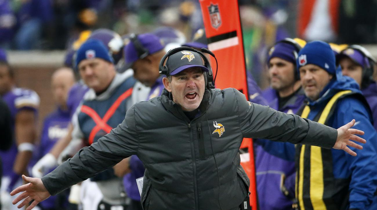 FILE - In this Dec. 6, 2015, file photo, Minnesota Vikings coach Mike Zimmer argues a call during the team's NFL football game against the Seattle Seahawks in Minneapolis. Zimmer, speaking of quarterback Teddy Bridgewater, said, He wins games, and to me t