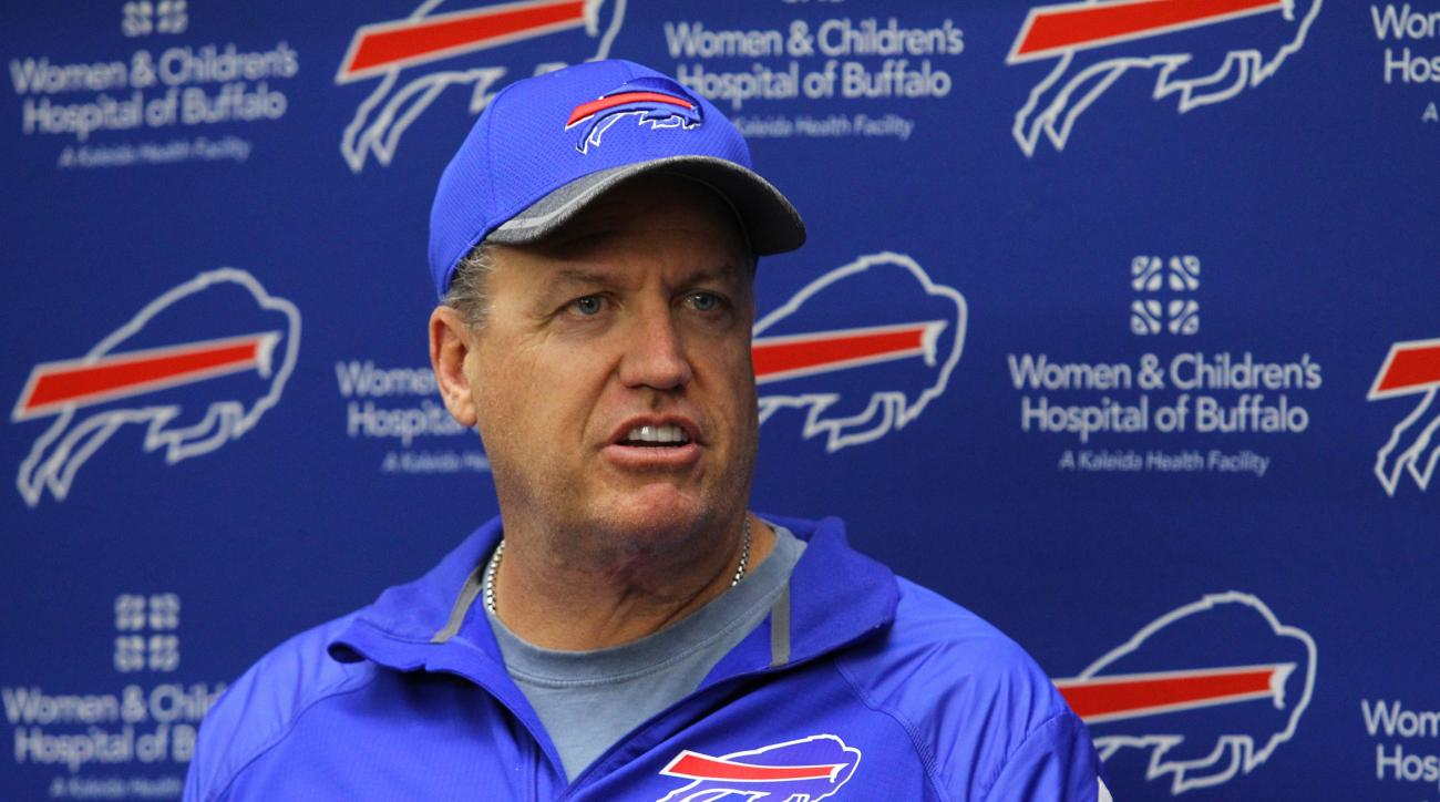 FILE - In this May 24, 2016, file photo, Buffalo Bills head coach Rex Ryan speaks to the media following an NFL football organized team activity in Orchard Park, N.Y. The Bills head to training camp facing numerous concerns despite Ryan's rosy proclamatio