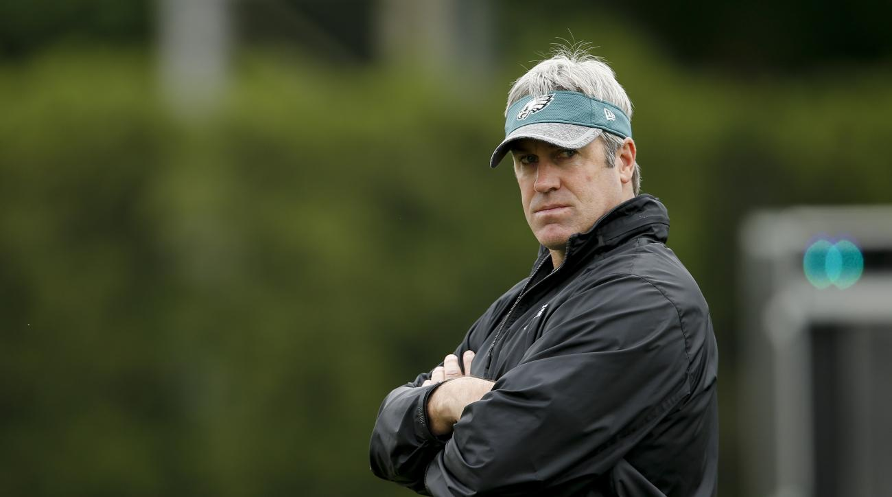 FILE - In this May 17, 2016, file photo, Philadelphia Eagles head coach Doug Pederson watches his team practice at the team's NFL football training facility in Philadelphia. The Eagles are much closer to a rebuilding team than a contender, but they can't