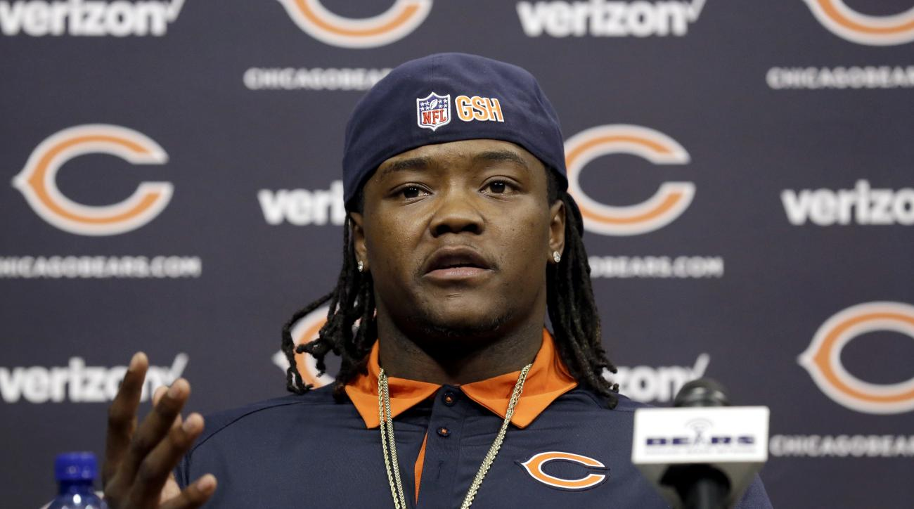 FILE - In this March 10, 2016, file photo, new Chicago Bears linebacker Danny Trevathan talks to the media during a news conference in Lake Forest, Ill. The Bears signed Danny Trevathan from Super Bowl champion Denver and added Jerrell Freeman from Indian