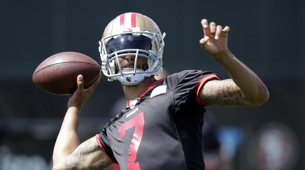 FILE - In this June 9, 2016, file photo, San Francisco 49ers quarterback Colin Kaepernick (7) throws during an NFL football practice in Santa Clara, Calif. Kaepernick is back following three surgeries and last season's benching, determined and ready to pr