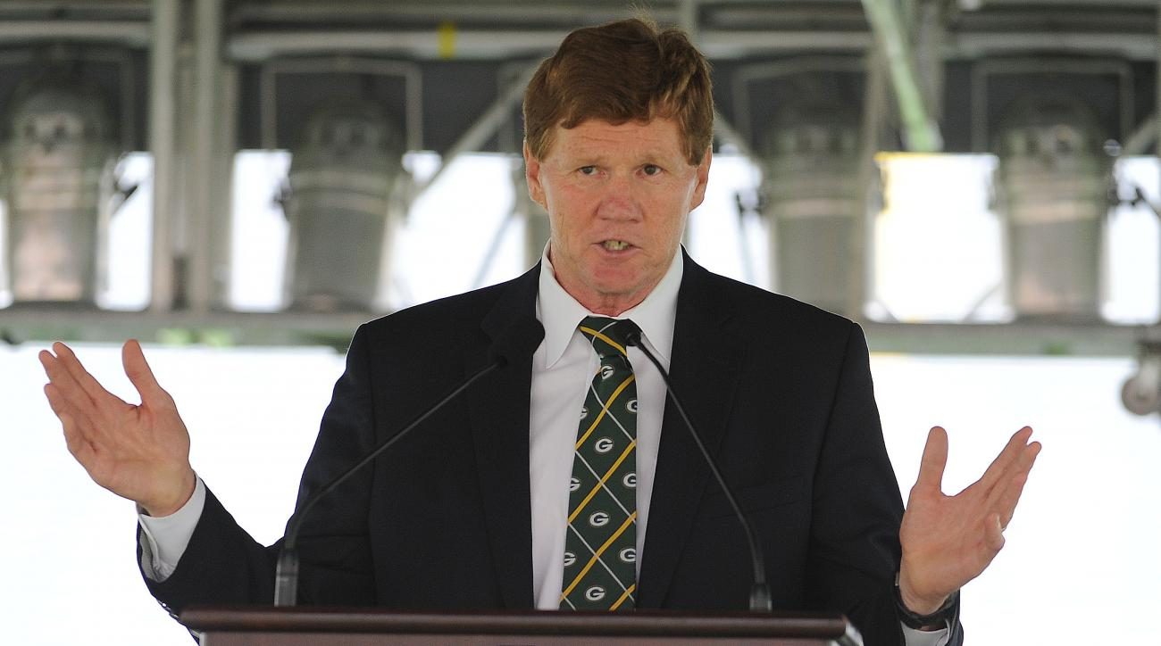 Green Bay Packers president Mark Murphy speaks during the annual shareholders meeting at Lambeau Field, Thursday, July 21, 2016 in Green Bay, Wis. The Green Bay Packers would like to host the NFL Draft in the league's smallest market. Team President Mark