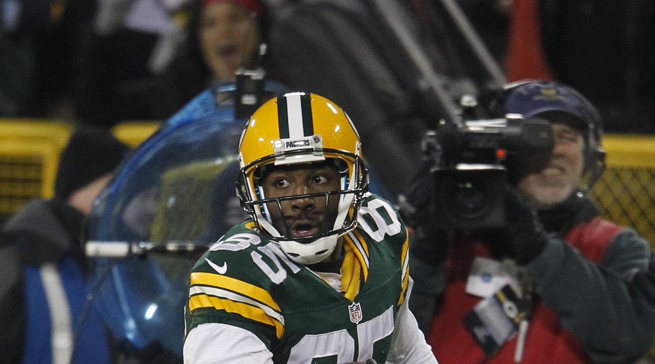 Green Bay Packers wide receiver Greg Jennings in action against the Minnesota Vikings during an NFL wild card playoff football game Saturday, Jan. 5, 2013, in Green Bay, Wis. (AP Photo/Matt Ludtke)