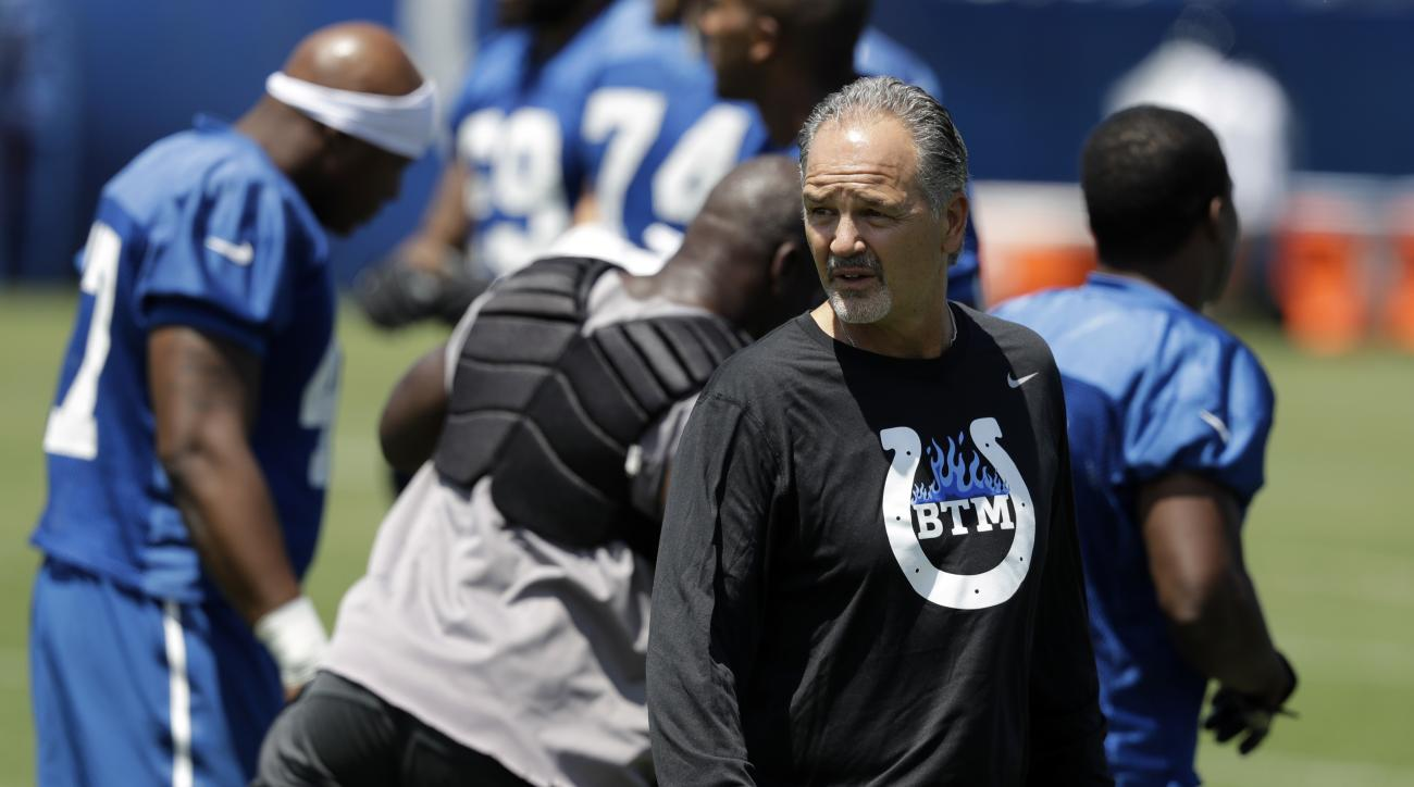 Indianapolis Colts head coach Chuck Pagano watches as players run during an NFL football training camp, Wednesday, July 27, 2016, in Anderson, Ind. (AP Photo/Darron Cummings)