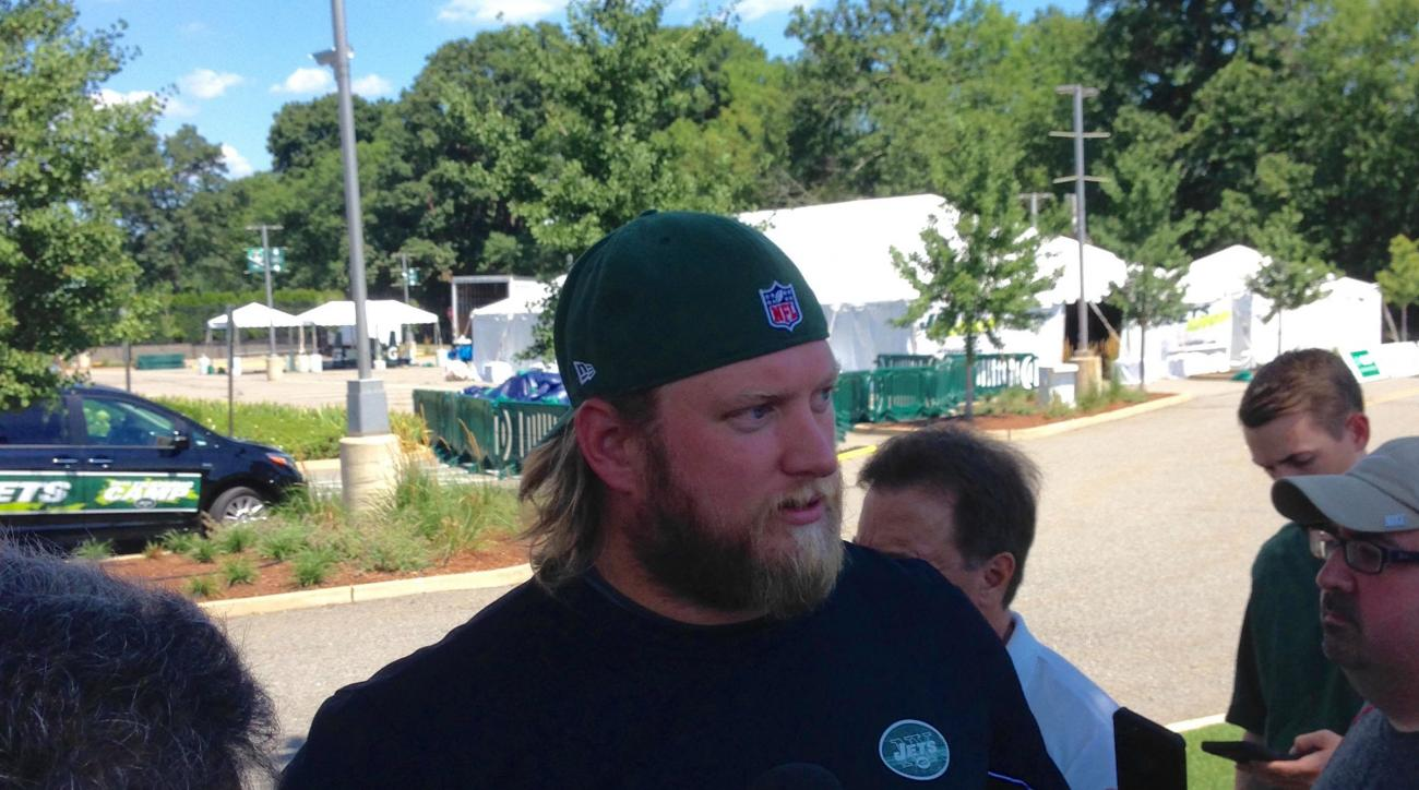New York Jets center Nick Mangold  talks to the media Wednesday, July 27, 2016, at Atlantic Health Jets Training Center in Florham Park, New Jersey. (AP Photo/Dennis Waszak)