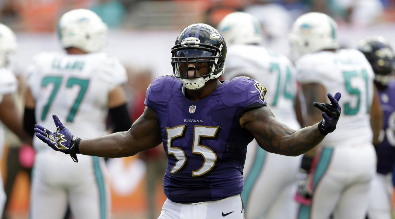File- This Oct. 6, 2013, file photo shows Baltimore Ravens outside linebacker Terrell Suggs (55) celebrates after a sack during the second half of an NFL football game. Suggs believes he's still got a few sacks left in him, even though the Baltimore Raven