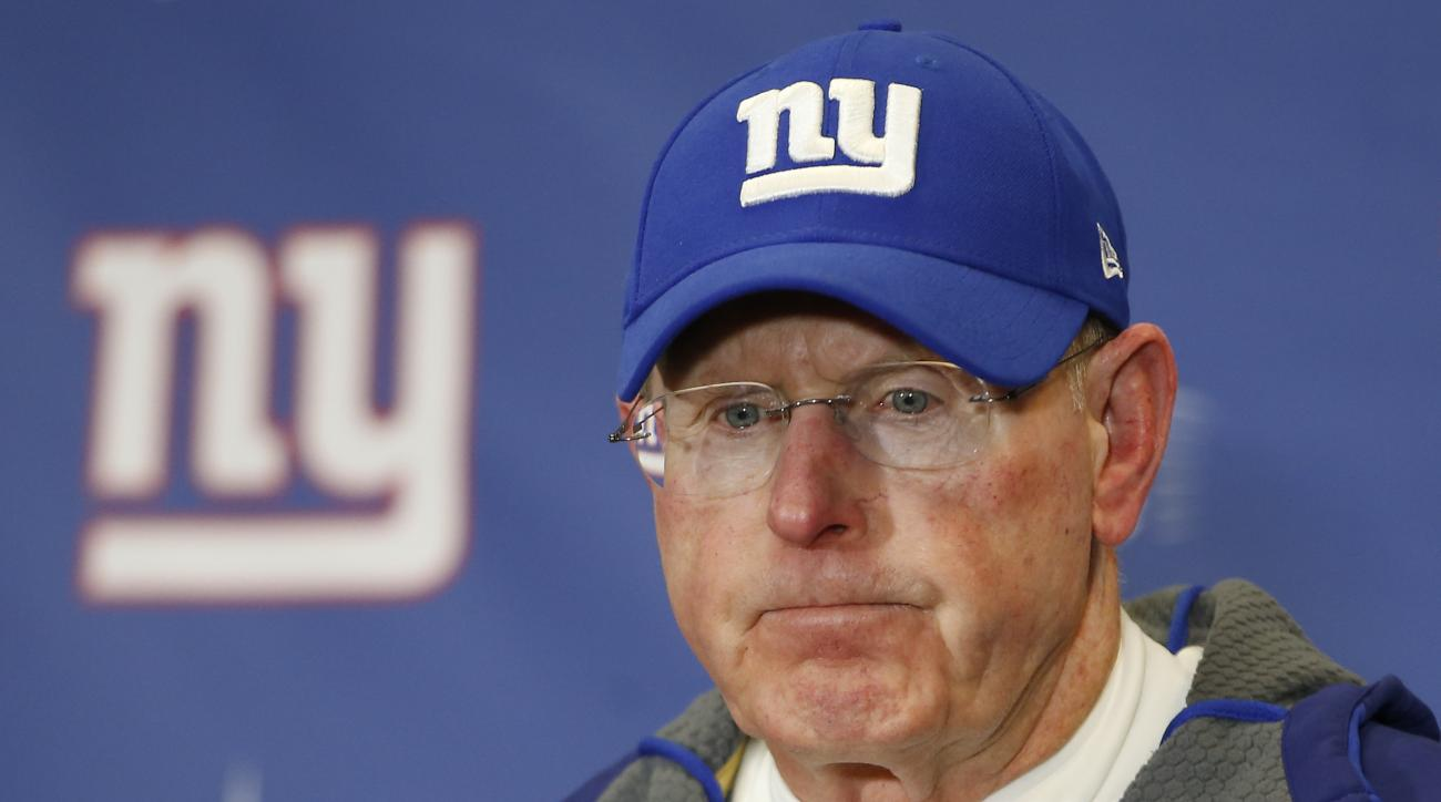 FILE - In this Jan. 3, 2016, file photo, New York Giants coach Tom Coughlin answers questions during a news conference after the team's NFL football game in East Rutherford, N.J. Coughlin, who stepped down as coach earlier this year, will be joining the N