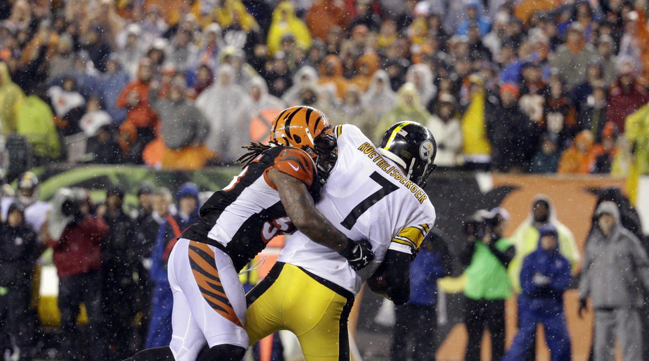 FILE - In this Jan. 9, 2016, file photo, Pittsburgh Steelers' Ben Roethlisberger (7) is sacked by Cincinnati Bengals' Vontaze Burfict (55) during the second half of an NFL wild-card playoff football game, in Cincinnati. The Bengals open training camp with